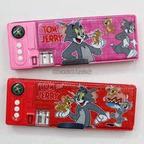 新款学生文具盒*高级塑料铅笔盒*多功能*猫和老鼠图案*双面*多色 价格:13.00