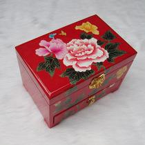 平遥推光漆器首饰盒特价包邮三层首饰箱漆盒饰品化妆盒仿古木质大 价格:158.00