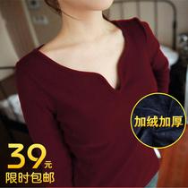 秋冬女士加绒打底衫低领修身短款韩版大码V领长袖女T恤加厚潮小衫 价格:39.00