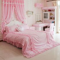 花开木木 田园风格 公主床品套件 粉红小格子床上用品纯棉四件套 价格:298.00