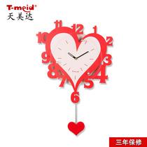 【天美达】红色爱心数字创意挂钟婚庆装饰钟表不带秒针温馨喜钟表 价格:45.00
