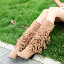 2010新款女鞋春秋冬OL气质磨砂多层流苏高筒高跟淑女靴子[1486] 价格:68.00