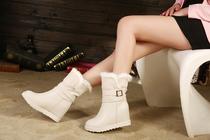 白色正品橡胶底依思q2013年冬季卓诗尼软面皮人造革/PU女鞋靴子 价格:230.85
