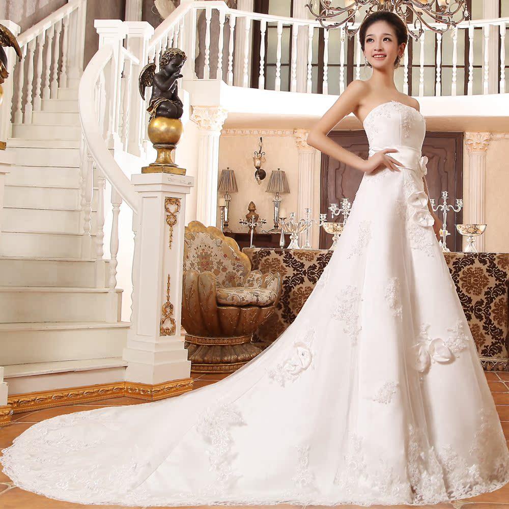 漫初 2013新款婚纱 抹胸小拖尾新娘婚纱 优雅时尚H 价格:548.00