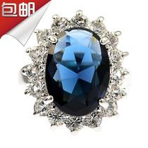 妇女节礼物韩国代购蓝宝石水晶戒指环时尚复古夸张食指钻戒女包邮 价格:29.90