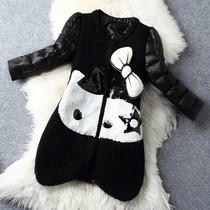 欧曼卡女装★2014欧洲站新款时尚甜美名媛气质针织拼接羽绒服外套 价格:560.00