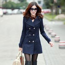 毛呢大衣女外套秋装韩版大翻领上衣学院风休闲中长款双排扣风衣女 价格:103.80
