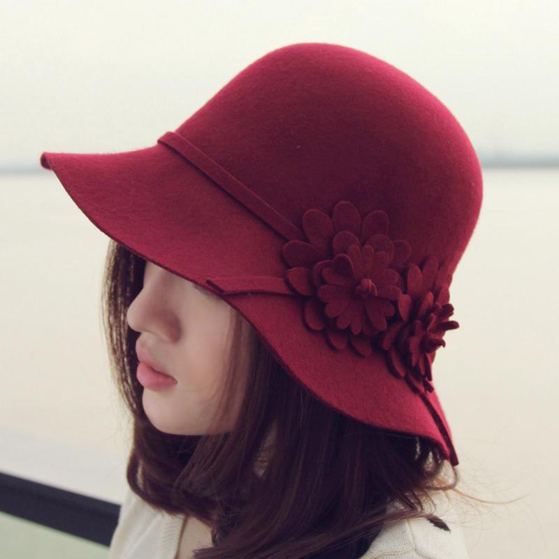 thantrue韩版羊毛呢帽子 秋冬季花朵盆帽 女士圆顶酒红色毡帽冬帽 价格:79.60