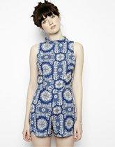 2014夏季女士新款欧美时尚青花瓷印花直筒显瘦后拉链无袖连体短裤 价格:39.00