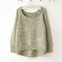 春の初语  新款森女系 花色 大圆领毛衣套头 复古宽松针织衫 女 价格:72.00
