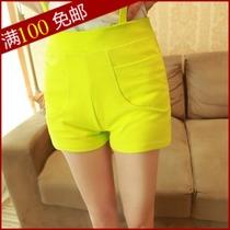 裤子2014春夏女装新款潮 韩版时尚糖果色棉布休闲背带裤短裤热裤 价格:14.80