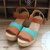 2013日本原单 花瓣撞色 冰激凌色 罗马风格 坡跟凉鞋女POUDOUDOU 价格:108.00