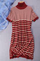 超高性价比-外贸原单以色列品牌TAMNOON短袖高领横条纹针织连衣裙 价格:39.90