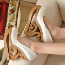 欧美复古异型跟圆头单鞋白色  款号:-6 价格:102.00