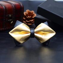 韩版正装领结 男士商务双层领结 结婚新郎派对领结领带 皮革领结 价格:45.50