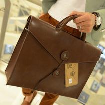 2013韩版新款横款潮包英伦男女包休闲电脑包复古公文包单肩手提包 价格:98.00