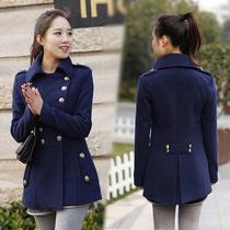 2013韩版秋装呢子大衣韩版双排扣毛呢外套女装中长款修身毛呢大衣 价格:71.50