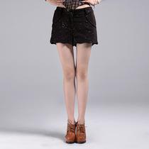 100%专柜●9魅 2013秋含羊毛纯色短裤子 亮片装饰[33DY4405]三 价格:68.00