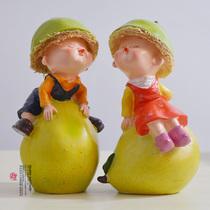 树脂情侣娃娃 现代时尚工艺摆设结婚礼品家居装饰品 鸭梨宝宝 价格:18.00