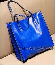 欧美简约 光面牛皮真皮复古vintage方形购物袋购物包单肩包手提包 价格:218.00