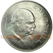 外国钱币 特价英国老版1克朗硬币1965年丘吉尔纪念币 稀少版女王 价格:18.80
