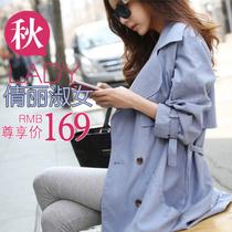 2013秋装新款 女装韩国东大门代购 OL显瘦大码双排口时尚风衣外套 价格:169.00