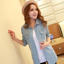 2013夏装新款韩版 女装新品领口铆钉 宽松长袖牛仔衬衣衬衫 女 价格:39.00