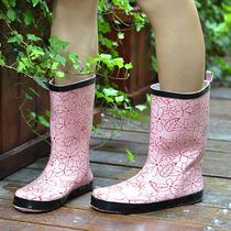 美丽中筒女式雨鞋女士雨靴 轻巧休闲柔软舒适平底水鞋 价格:42.00