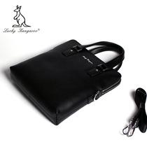 袋鼠男包商务休闲斜挎包 专柜正品牌男士手提包 公文包牛皮包包 价格:339.00