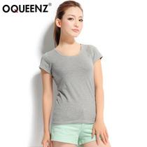 Oqueenz2013夏装百搭简约打底短袖纯色修身显瘦纯棉圆领短袖T恤女 价格:43.80