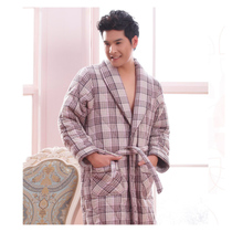 秋冬男士睡衣 美梦正品睡衣男士夹棉加厚睡袍男式格子家居服 价格:178.00