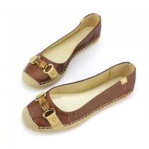 德国爱格纳Etienne Aigner新款复古PU高档匙扣麻绳平底鞋缝制女鞋 价格:48.00