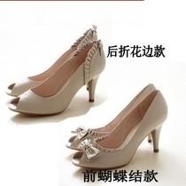 2013夏新款正品百丽弥敦凉鞋羊皮鱼嘴鞋性感女鞋蝴蝶结高跟鞋单鞋 价格:108.00