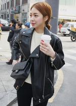 韩国代购 2013秋冬季新款 拉链机车皮衣韩版大码外套夹克 女 价格:139.00