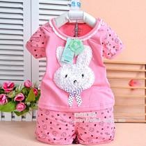 新款女童女孩女宝宝套装夏季款全棉短袖短裤两件套甜美花朵小兔子 价格:29.00