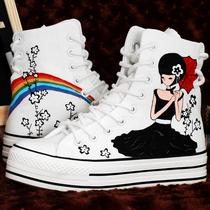 牛筋底韩版手绘鞋 白色系带高帮鞋厚底帆布鞋女鞋 新款松糕鞋单鞋 价格:79.00