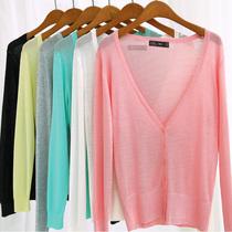 2013秋装新款女装 韩版马卡龙V领长袖薄防晒衣空调衫针织衫AD457 价格:30.40