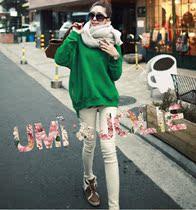 韩国东大门代购秋装休闲宽松大码学院风绿色圆领卫衣套头女韩版 价格:78.00