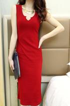 欧美风 韩国单 百搭 V领竖条纹无袖式连身长裙连衣裙 修身连衣裙 价格:48.00