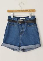 小娜同学2013新款宽松显瘦大码欧美风BF风复古高腰牛仔裤牛仔短裤 价格:49.00
