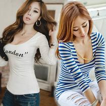 2013秋季新款韩版性感紧身修身夜店条纹长袖t恤打底衫潮女装上衣 价格:24.00