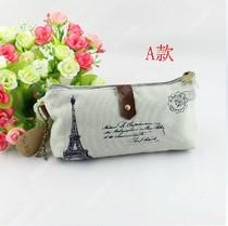 包邮 韩国创意文具 复古巴黎铁塔心情帆布环保笔袋/文具袋文具盒 价格:12.80