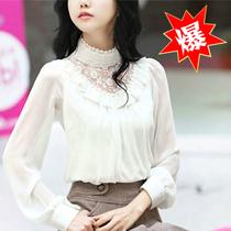 2013春装新款女装蕾丝花边立领韩版白色雪纺衫胖MM上衣长袖女 价格:69.00