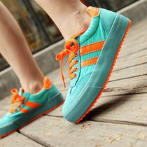 2013年秋季低帮系带帆布鞋女 松糕 休闲增高鞋拼色厚底女球鞋板鞋 价格:68.00