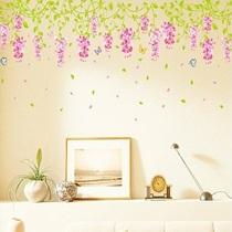 飞彩可移除墙贴 紫藤花开 玻璃卧室床头客厅沙发背景墙大型装饰贴 价格:9.90