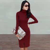 包邮2013新款韩版OL春秋针织长袖修身包臀打底裙女短裙高领连衣裙 价格:59.90