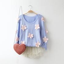 031070秋装新款2013韩版女装清新甜美立体花朵灯笼袖套头针织毛衣 价格:68.00