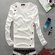 包邮秋装新款2013男装原创韩版修身个性公子T恤潮流V领长袖T恤 价格:49.00