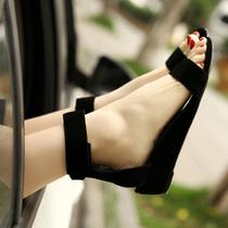 夏季欧美休闲凉鞋 小坡跟鞋真皮鱼嘴凉鞋罗马女鞋子低跟学生凉鞋 价格:128.00