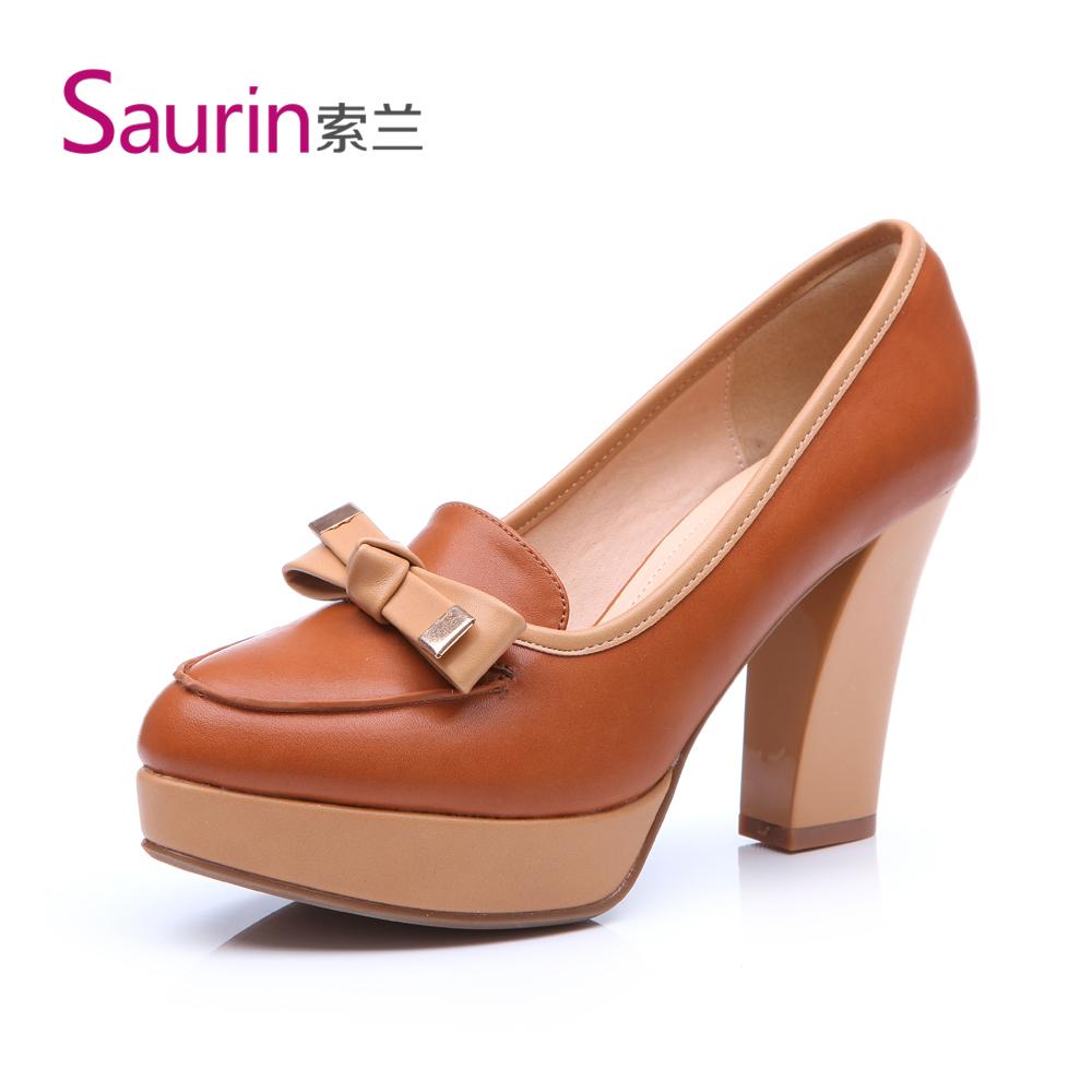 索兰女鞋 2013单鞋新款 优雅复古蝴蝶结马蹄跟尖头高跟鞋3C06180 价格:189.00
